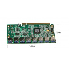 PCI-E16X t 1 to 8 Ports Switch Multiplier Hub, for 8X USB 3.0 Cable to PCI-E 16X Extender Riser Card  itCoin Mining Modules