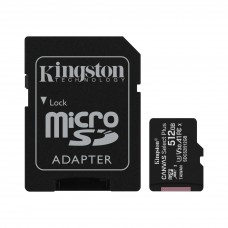 Kingston 512GB microSDHC Canvas Select Plus 100MB/s Read A1 Class10 UHS-I Memory Card with Adapter