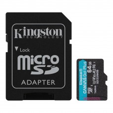 Kingston 64GB microSDXC Canvas Go Plus 170MB/s Read UHS-I, C10, U3, V30, A2/A1 Memory Card + Adapter