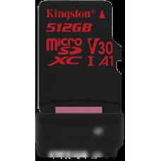 Kingston 512Gb Microsdxc Canvas React 100R/80W U3 UHS-I V30 A1 Card + Sd Adapter