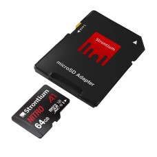 Strontium Nitro 64GB Micro SDHC Memory Card 100MB/s A1 UHS-I U1 Class 10 w/Adapter
