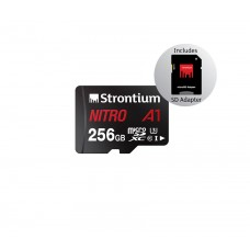 Strontium Nitro 256GB Micro SDHC Memory Card 100MB/s A1 UHS-I U1 Class 10 w/Adapter